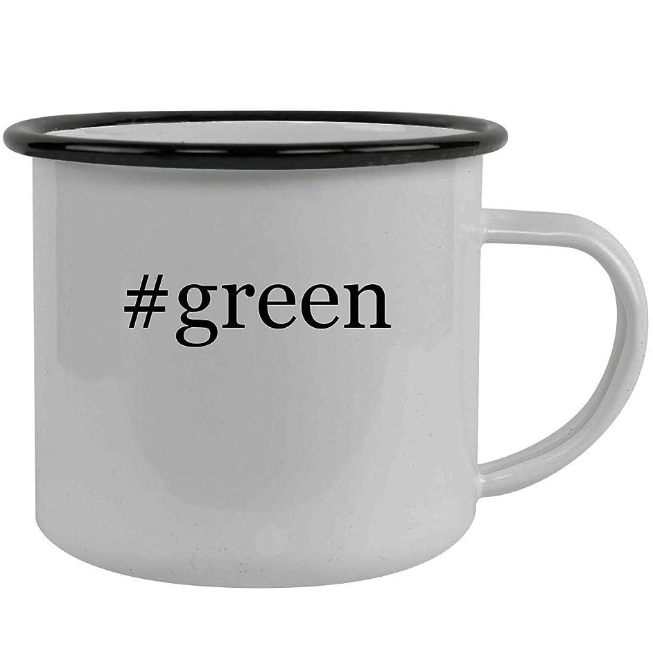 #green - Stainless Steel Hashtag 12oz Camping Mug, Black