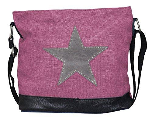 Damen Stern Handtasche Schultasche Clutch TOP TREND Tragetasche (Modell 3 Pink/Grau)