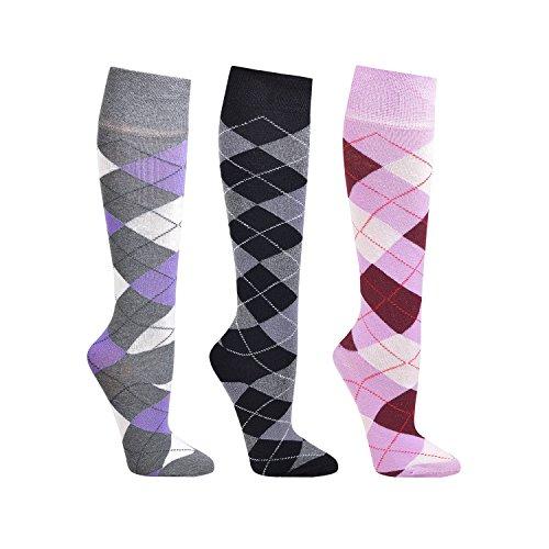 Karo - Set de 3 pares de calcetines hasta la rodilla, diseño a cuadro