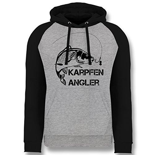 Shirtracer Angeln - Karpfen Angler - XL - Grau meliert/Schwarz - JH009 - Baseball Hoodie