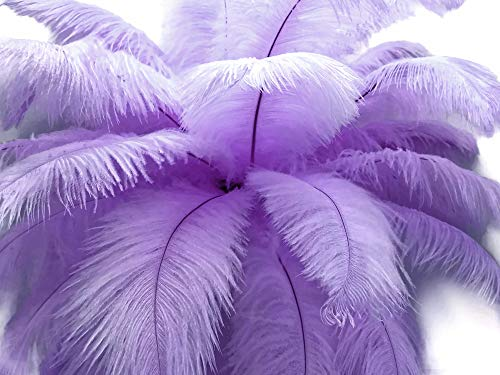 Moonlight Feather | 10 Pieces - 14-17' Lavender Ostrich Dyed Drab Body Feathers, Mardi Gras, Party Centerpiece and Costume