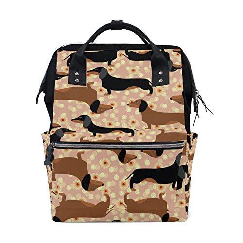 Süßer Rucksack mit Dackel-Motiv und Blumen, Schule, große Kapazität, Laptop, Handtasche, Freizeit, Reiserucksack für Damen, Herren, Erwachsene, Teenager, Kinder