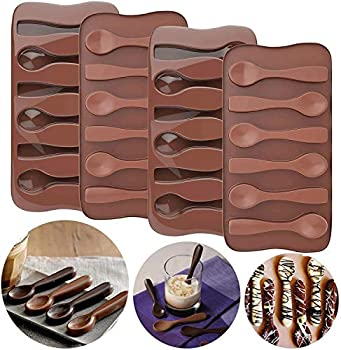 Palksky  4pcs  Hot Chocolate Spoon Mold/ Candy Cane Spoons Mold/ Peppermint Spoons Silicone Mold for Hot Cocoa & Coffee Butterscotch Handmade Chocolate Stirring Spoons
