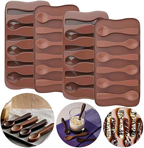 Palksky (4pcs) Hot Chocolate Spoon Mold/ Candy Cane Spoons Mold/ Peppermint Spoons Silicone Mold for Hot Cocoa & Coffee Butterscotch Handmade Chocolate Stirring Spoons