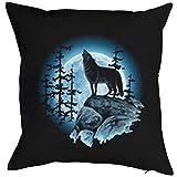 Goodman Design ® Kissen incl. Füllung, Dekokissen, Schlafkissen, Couchkissen mit USA Motiv - Wolf im Mondschein