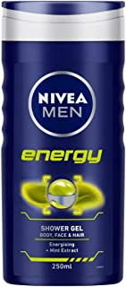 NIVEA MEN Shower Gel, Energy Body Wash, Men, 250ml
