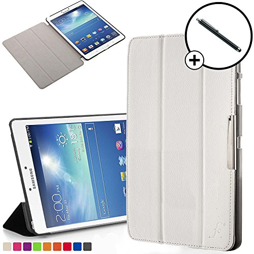 Forefront Cases Smart Cover Case for Samsung Galaxy Tab 3 8.0 T310 Folding Smart Case Cover Sleeve – Full device protection and Smart Auto Sleep Wake function + STYLUS (WHITE)