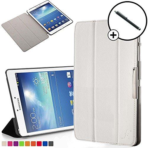 Forefront Cases Funda para Samsung Galaxy Tab 3 8.0 T310 Funda Carcasa Stand Case Cover Plegable - Delgado Ligera, Protección Completa y Smart Auto Sueño Estela Función - Blanco + Lápiz