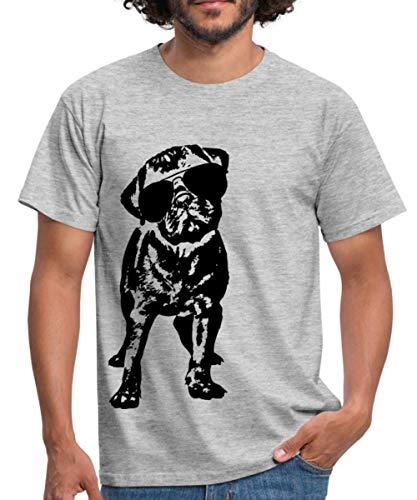 Mops Hund Mit Sonnenbrille Männer T-Shirt, M, Grau meliert