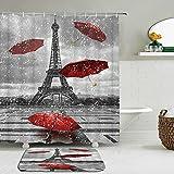 2pcs / Set patrón de la Torre EiffelLandscape Architecture Shower Curtain Set Waterproof +Non-Slip Mat Rug Home Decor-150cm W X 180cm H