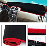 Dashboard Cover Dash Cover Mat Pad Custom Fit for Jeep Compass 2017-2018 Model Set Red Line