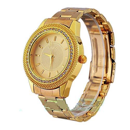 Mixe Mens Gold Watches Diamond Dial Gold Steel Analog Quartz Wrist Watch