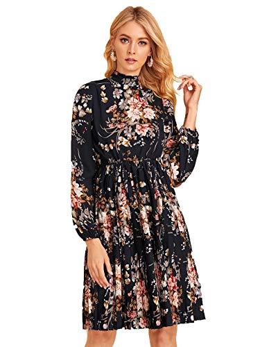 DIDK Damen Kleid Elegant Langarm Blumen Kleider Kurz Knielang Partykleid Casual für Herbst Frühling Marineblau mit Blumenmuster L