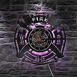 KEC Fire & Rescue Fire Dept. Sign Decoración Reloj de Pared Bomberos Disco de Vinilo Reloj de Pared Hombre Cueva Bomberos Reloj Decorativo Reloj