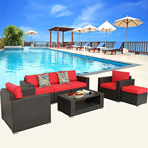 HTTH 7 Piece Outdoor Conversation Set, PE Rattan Wicker Sofa Patio Furniture Set, Outdoor Sectional Furniture Chair Set with Water Repellent Cushions(RED)