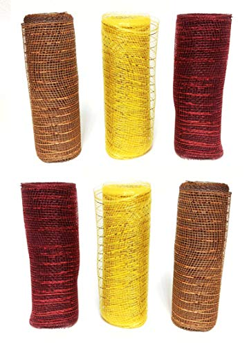 Decorative Harvest Metallic Deco Mesh Wrap Roll Variety Ribbon Pack of 6 for Thanksgiving Floral Arrangement Wreath and Craft