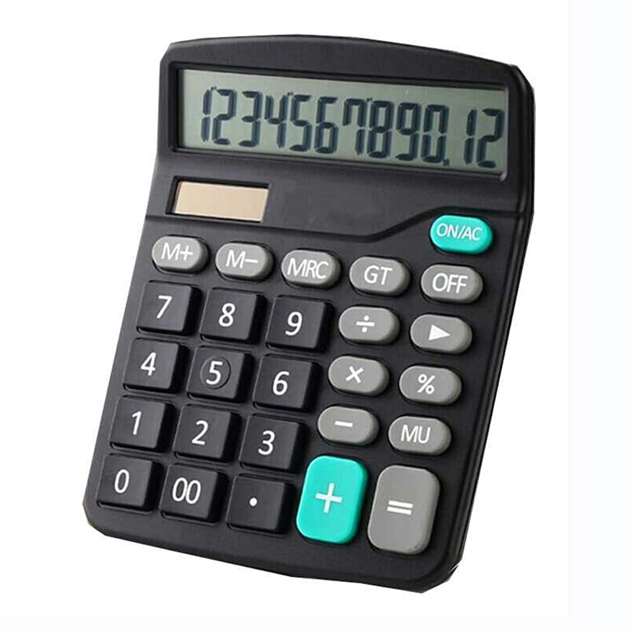 後ろにペレグリネーションコインYeahiBaby 12桁デリ金融オフィス(ブラック)のためのバッテリーなしの電子電卓ポータブルソーラー電卓