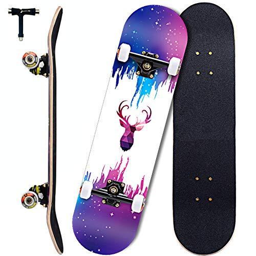 Sumeber Skateboards 31 Zoll Double Kick Erwachsene Tricks Skateboard für Anfänger Komplettes Skateboard mit ABEC 11 Lager für Teenager Kinder Erwachsene als Geburtstagsgeschenk (Fantasy Elk)