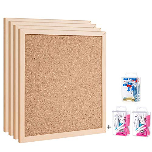 """Cork Board Bulletin Board 12""""X 12"""" Square Wall Tiles,Modern Framed Corkboard for School, Home & Office (Set Including 25 Push Pins,20 Colorful Clip Pins,Hardware and Template)"""