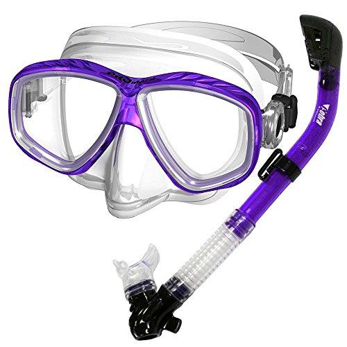 Promate Snorkeling Scuba Dive Dry Snorkel Purge Mask Gear Set, Purple