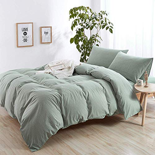 AMWAN Solid Green Duvet Cover Set Queen Washed Cotton Bedding Set Full Hotel Duvet Comforter Cover Set Luxury Soft Solid Bedding Modern Queen Duvet Cover Set Cotton Green Bedding Set Fresh