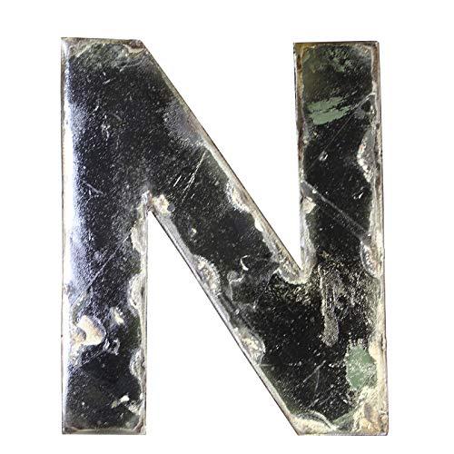 Boogs Metallbuchstabe N im Vintage Stil   Retro Buchstaben aus Metall   Industrial Deko Metallbuchstaben   Schwarz auch in Anderen Farben