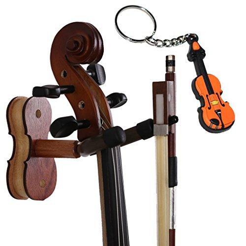 MOREYES Violine Kleiderbügel Wandhalterung - Holz Bogen Aufhänger mit einer Violine Schlüsselanhänger verpackt Rosewood Color