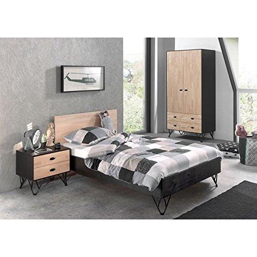 Lomadox Jugendzimmer Set massiv schwarz, Birke natur lackiert, 120x200 cm Jugendbett mit Nachttisch und 100cm Kleiderschrank 2-türig