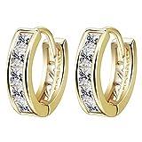 Yazilind - Pendientes de aro para mujer, chapados en oro de 18K y circonita cúbica redonda