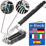 SPAZZOLA PER BARBECUE TRIPLA in acciaio inox 304 100% antiruggine! Ottima per pulire griglie in...
