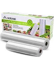 Aobosi Vacuum Sealer Bags Vacuum Food Sealer Rolls Free of BPA & LFGB Approved Food Storage Bags 5 Roll (12+15+20+25+28)cmx600cm, for Sous Vide Cooker and All Vaccine Sealing Machines