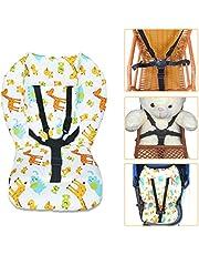 Baby barnstol kudde, baby barnstol sittkudde och 5 punkter bälte set mönster Seat Liner Soft dubbelsidig kudde Pad matta unisex, 1 set (grosk)