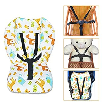 High Chair Cushion and Straps,High Chair Cushion Pad,Baby High Chair Seat Cushion Liner Pad Cover Mat and Highchair 5 Point Harness Straps,1 Set