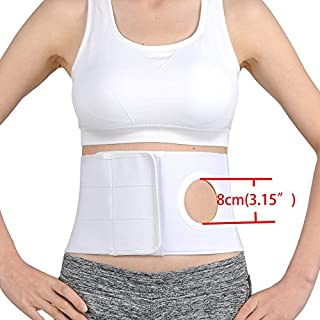 TANDCF Medical Ostomy Belt Unisex Ostomy Hernia Support Belt Abdominal Binder Brace Abdomen Band Stoma Support for Colostomy Patients to Prevent Parastomal Hernia Stoma Opening- Size L