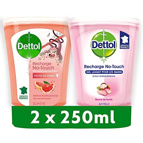DETTOL Pack No Touch - Ricarica sapone liquido, burro di karité + tè verde, azione detergente, 2 x 250 ml