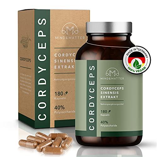 MIND&MATTER® Premium Cordyceps Kapseln – [180] Stk. à [500]mg hochdosiert – Täglich [2] Kapseln mit [1]mg CS-4 Extrakt [10:1] – [40]% Polysaccharide – Ohne Zusätze – Laborgeprüft – Braunglas