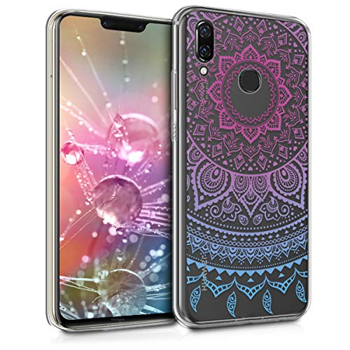 kwmobile TPU Silicone Case Compatible with Huawei Nova 3 - Crystal Clear Smartphone Back Case Cover - Indian Sun Blue/Dark Pink/Transparent