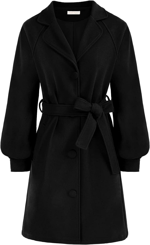 Belle Poque Womens Pea Coat Elegant Lantern Sleeve Long Winter Overcoat Outfits