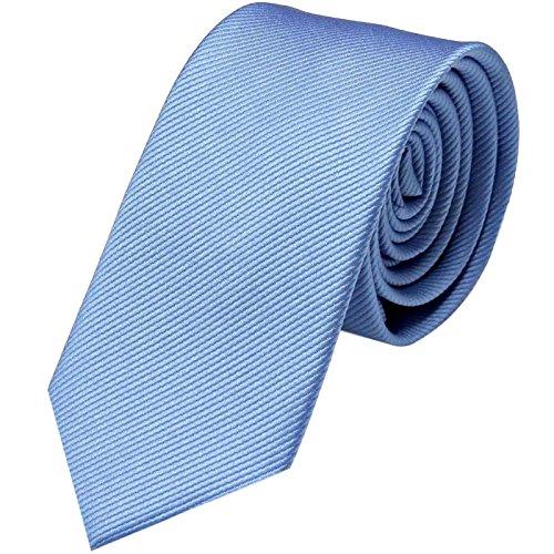 GASSANI Krawatte 6cm Schmal gestreift | Hellblaue Rips Herrenkrawatte zum Sakko |Slim Schlips Binder einfarbig Blau mit feinen Streifen