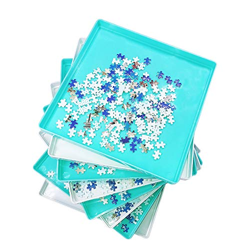 8 PCS Stackable Puzzle Sorting Trays Jigsaw Puzzle Sorters with Lid Puzzle Accessory Plastic Sorters Puzzle Storage Box for Puzzles Up to 1000 Pieces in White & Turquoise