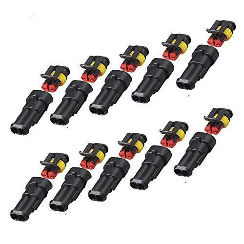 10 Piezas Conector Impermeable Automotriz de 2 Pines, Kit de Conector Eléctrico Impermeable, Conector Eléctrico Impermeable para Coche Para Coche, Motocicleta, Scooter y Camión