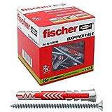 Fischer 538246 25 Tasselli Lunghi Duopower con Vite 8 x 65 mm Universali, per Il Fissaggio di Mensole, Pensili, Staffe Porta TV su Muro e Cartongesso, Grigio/Rosso, 8 x 65