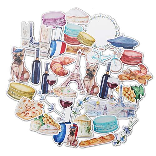 Navy Peony Romantisch Frankrijk Reizen Stickers (31 Pack) - Leuk, Waterdicht, Klein | Esthetische Avontuur Stickers voor Waterflessen, Laptops, Scrapbook