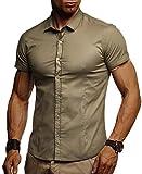Leif Nelson Camisa de Manga Corta de los Hombres LN-3520 Caqui Large