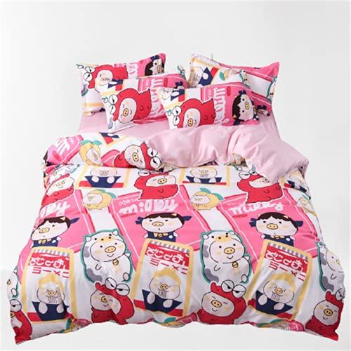 Ropa De Cama para Niños Textiles para El Hogar Funda Nórdica Estampada Funda De Almohada Juego De 4 Piezas Cómodo Y Transpirable 220x240cm