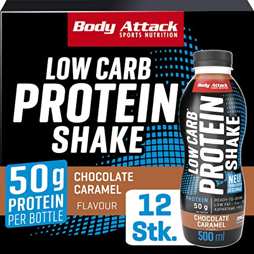 Body Attack Low Carb Protein Shake, Milch-Eiweiß, Fertigdrink in 500ml Flasche, Chocolate Caramel (12 x 500ml)