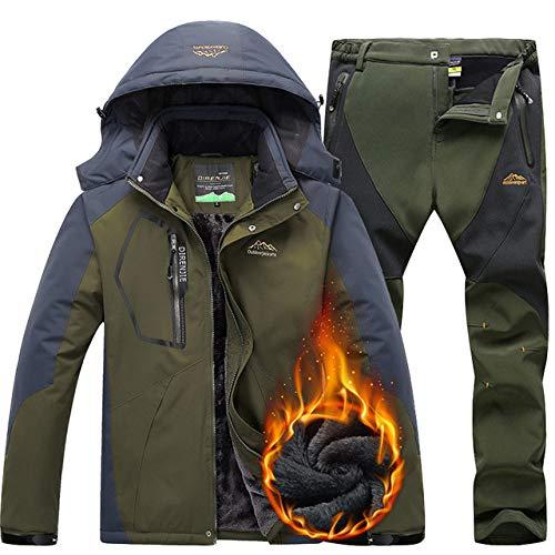 AXIANNV Skianzug für Männer, Winddicht wasserdicht Wärme Ski Jacke Hosen Schnee Kleidung Winter Ski- und Snowboard-Anzüge, Armee-Grün, 5XL