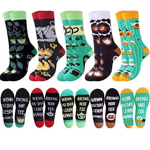 Jeasona Lustige Socken Herren Damen Tee Socken Witzige Wenn Du Das Lesen Kannst Socken Tee Geschenk für Männer 39-42/43-46