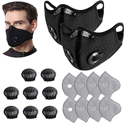 Unisex Protect Mouth Cover Adjustable Reusable with 8 Filters 8 exhaust valves,for Allergies Woodworking Running Sanding Mowing (black 2pcs)