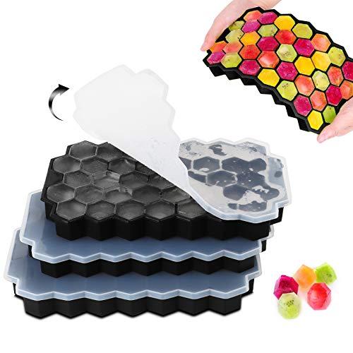 Eiswürfelform Silikon Eiswürfel Form 3er Pack 37-Fach mit Deckel ice cube tray für Bier Cocktails Whisky
